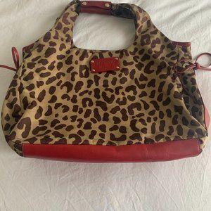 Kate Spake Red Leather/Cheetah Handbag